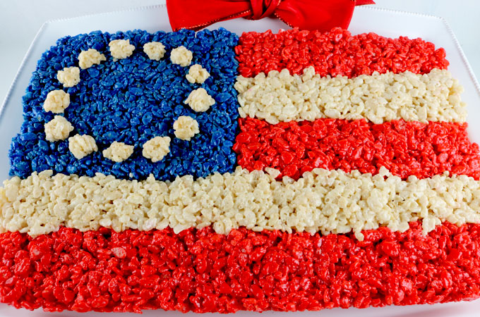 American Flag Rice Krispie Treat Two Sisters