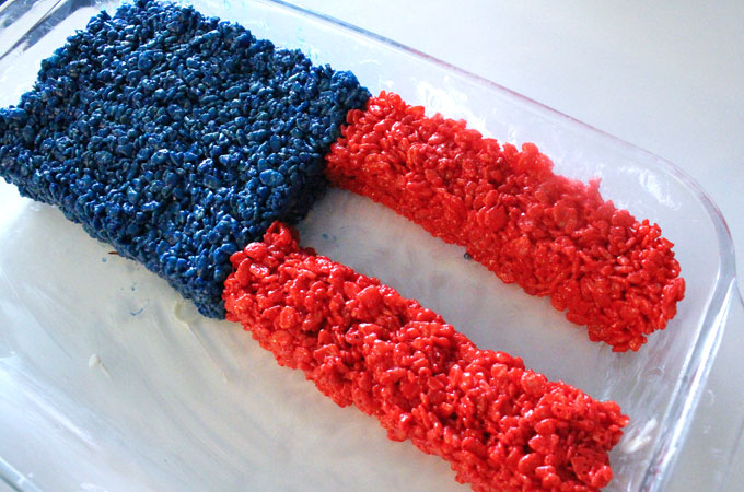 Build red stripes with the Rice Krispie Treat mixture