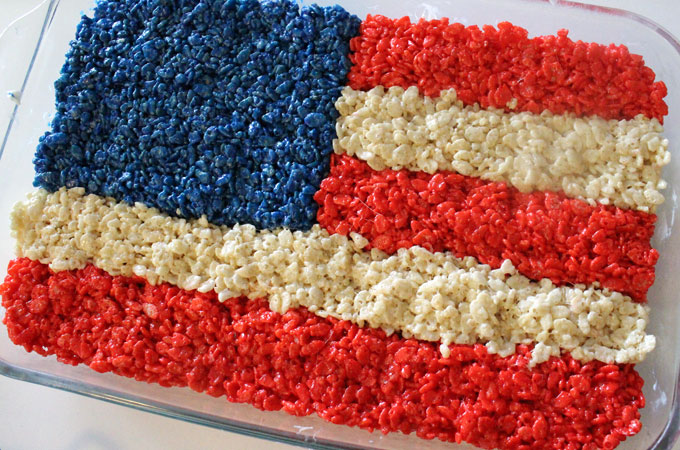 American Flag Rice Krispie Treats