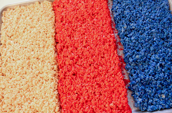 Press the Blue Rice Krispie Treat mixture into the cookie sheet