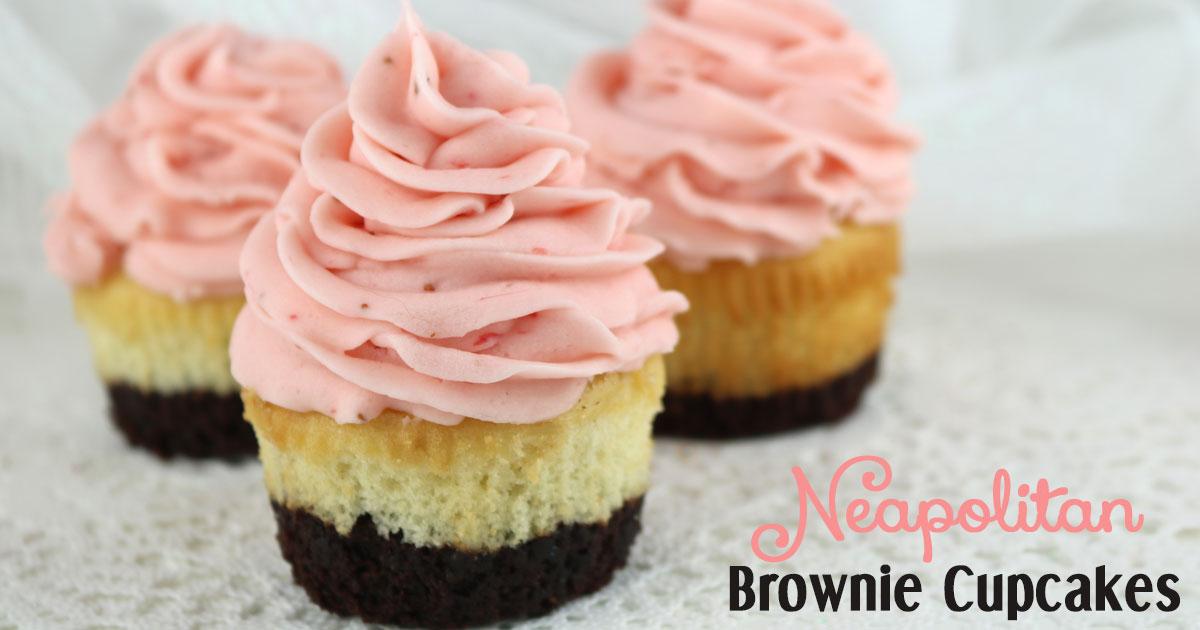 Neapolitan Brownie Cupcakes - Two Sisters Crafting