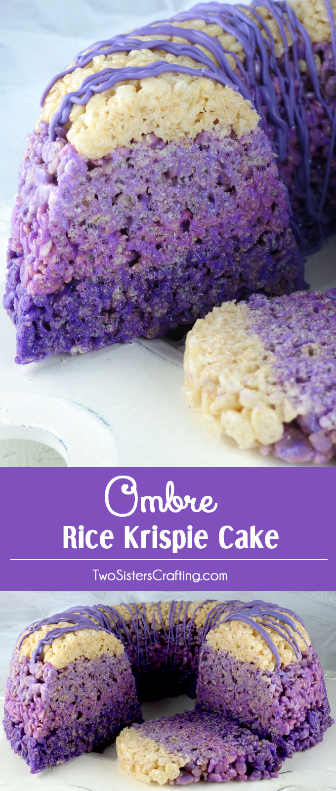 Ombre Rice Krispie Cake - gorgeous, delicious and unique! This lovely purple ombre dessert will be a hit with your family or your party guests beacause who doesn't love Rice Krispie Treats? So yummy and so easy to make you'll want to make this yummy cake again and again. Pin for later and follow us for more great Rice Krispie Treats recipes.