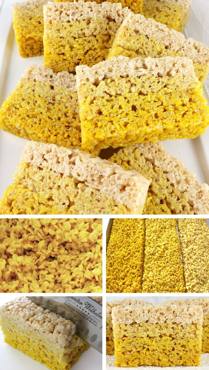 Ombre Rice Krispie Treats - this fun and colorful dessert will be a big hit at a birthday party, a baby shower, on a holiday dessert table or just on a random Saturday. These beautiful marshmallow and Rice Krispie Cereal treats are delicious and really easy to make. Pin this yummy sweet treat for later and follow us for more fun Rice Krispie Treat recipes.