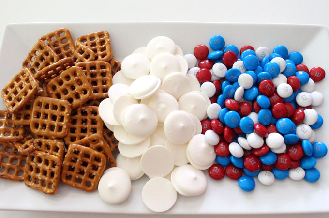 Ingredients for Patriotic Flower Pretzel Bites