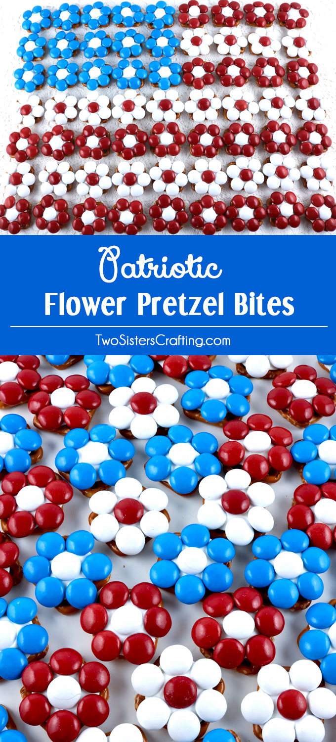 These great Patriotic Flower Pretzel Bites will be everyone's favorite 4th of July Treat - so easy to make and so delicious. They are yummy bites of Red White and Blue sweet and salty goodness. They would be great at a Fourth of July Party, a Memorial Day barbecue or an Olympics viewing party. Pin this delicious 4th of July dessert for later and follow us for more great 4th of July Food Ideas.