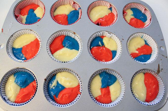 Patriotic Marble Cupcakes