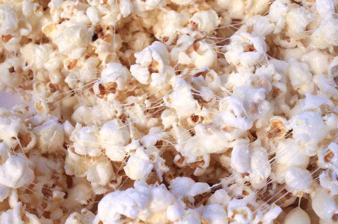 Popcorn covered in Marshmallow Mixture