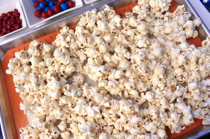 Patriotic Popcorn cooling in cookie sheet