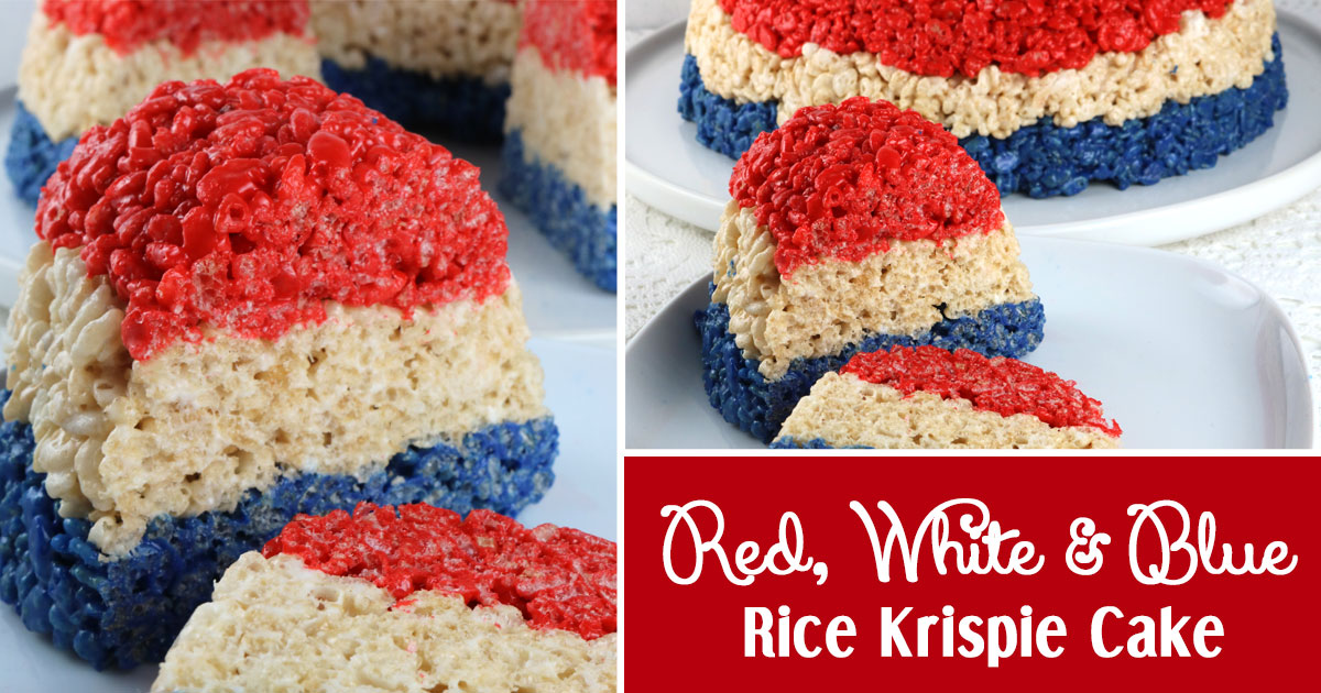Patriotic Rice Krispie Cake Two Sisters