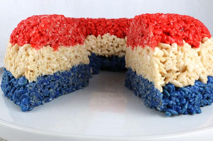 Patriotic Rice Krispie Cake Two Sisters