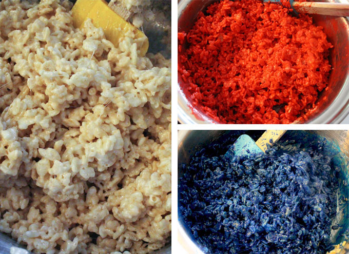 Red White and Blue Rice Krispie Treat Mixture