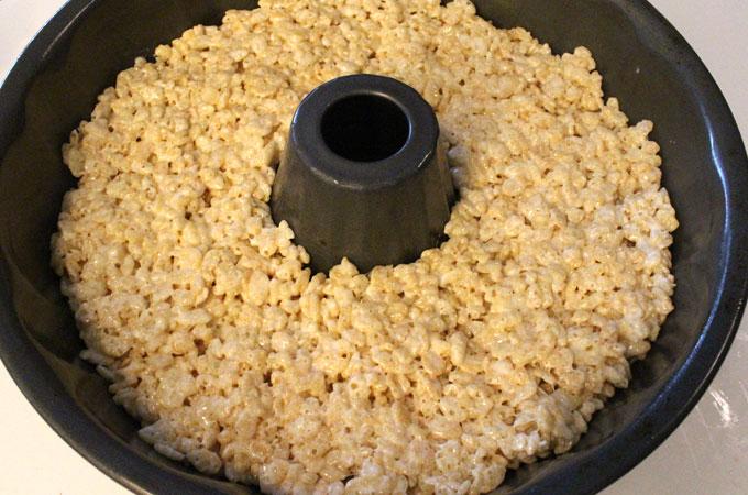 Add the white Rice Krispie Treat mixture next