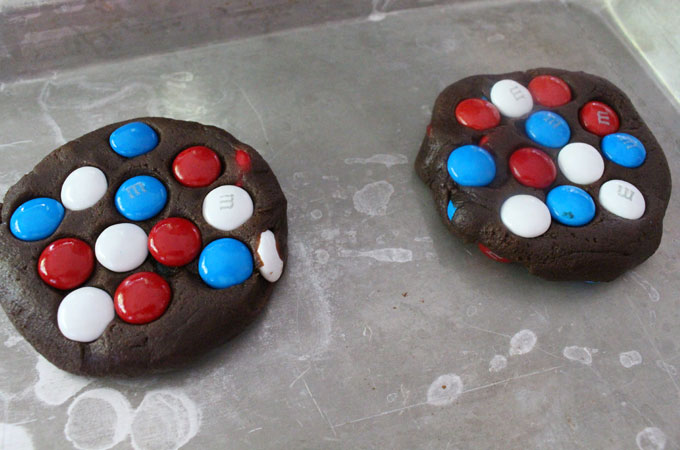 Press some extra Red White and Blue M&Ms into the cookie dough