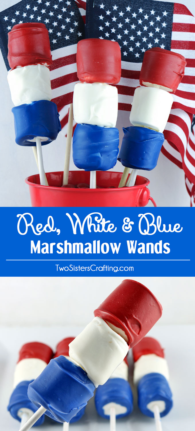 Looking for unique and delicious 4th of July treats for a party? How about Red White and Blue Marshmallow Wands? So easy to make and you won't believe how delicious they are. They would be a fun Fourth of July dessert for a 4th of July Party, a Memorial Day BBQ or even an Olympics viewing party. Pin this great 4th of July dessert for later and follow us for more fun 4th of July Food ideas.