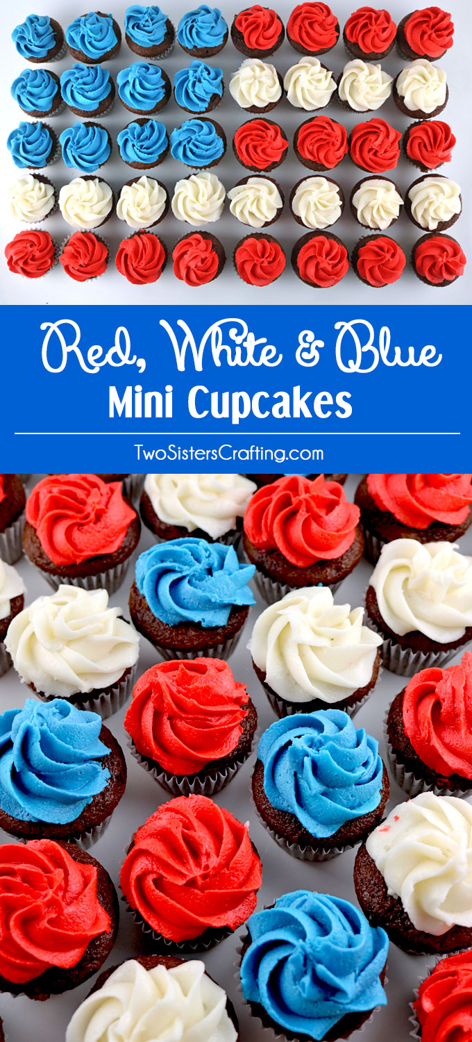 These fun and patriotic Red White and Blue Mini Cupcakes will be everyone's favorite 4th of July Treats. These Fourth of July cupcakes are so easy to make, taste delicious and are topped with yummy homemade Buttercream Frosting. They would be great at a 4th of July Party, a Memorial Day barbecue or an Olympics viewing party. Pin this delicious 4th of July dessert for later and follow us for more great 4th of July Food Ideas.