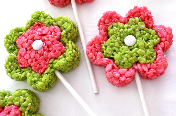 Add a Lollipop stick to the Rice Krispie Flower Pop
