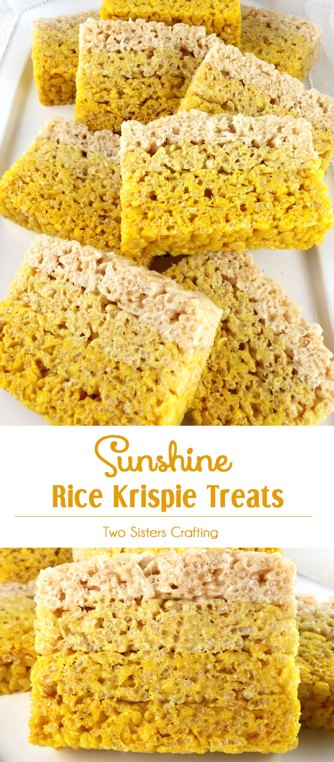 Everyone loves Rice Krispie Treats and these Sunshine Rice Krispie Treats will be no exception. This lovely yellow ombre dessert will be a hit with your family or your party guests. So delicious and so easy to make you'll want to make these yummy marshmallow treats over and over again. Follow us for more great Rice Krispie Treats recipes.