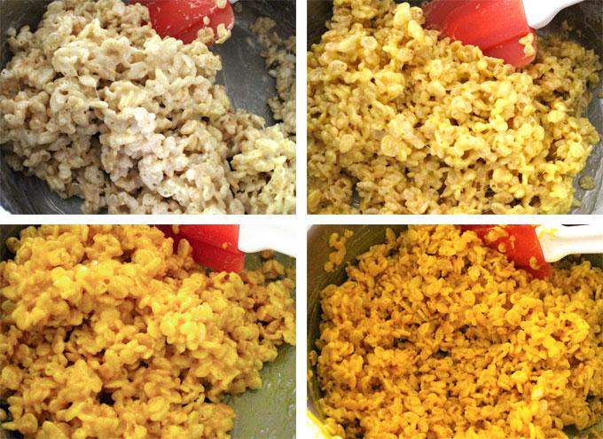 Yellow Ombre Rice Krispie Treat mixture