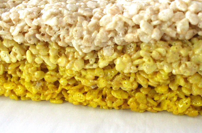 Stack the layers of Sunshine Rice Krispie Treats