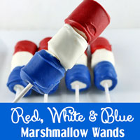 Red, White and Blue Marshmallow Wands