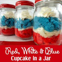 Red White and Blue Cupcake in a Jar
