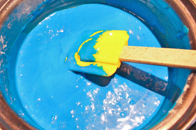 Add blue food coloring to the marshmallow mixture