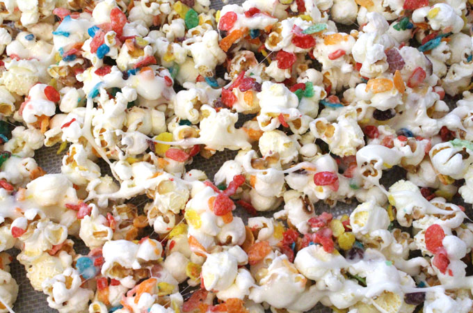 Pour Popcorn onto a Cookie Sheet