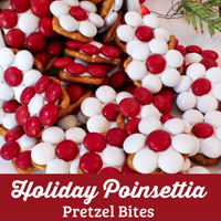 Holiday Poinsettia Pretzel Bites