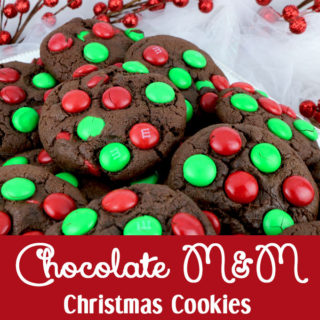 Chocolate M&M Christmas Cookies