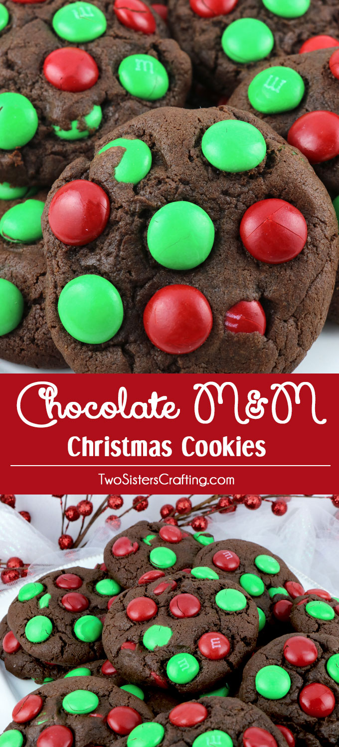 Chocolate M&M Christmas Cookies - a fun and festive dessert to bring to a Christmas Party or a Holiday Cookie Exchange. These colorful Christmas Cookies are delicious and easy to make. Pin this yummy Christmas treat for later and follow us for more great Christmas Food Ideas.