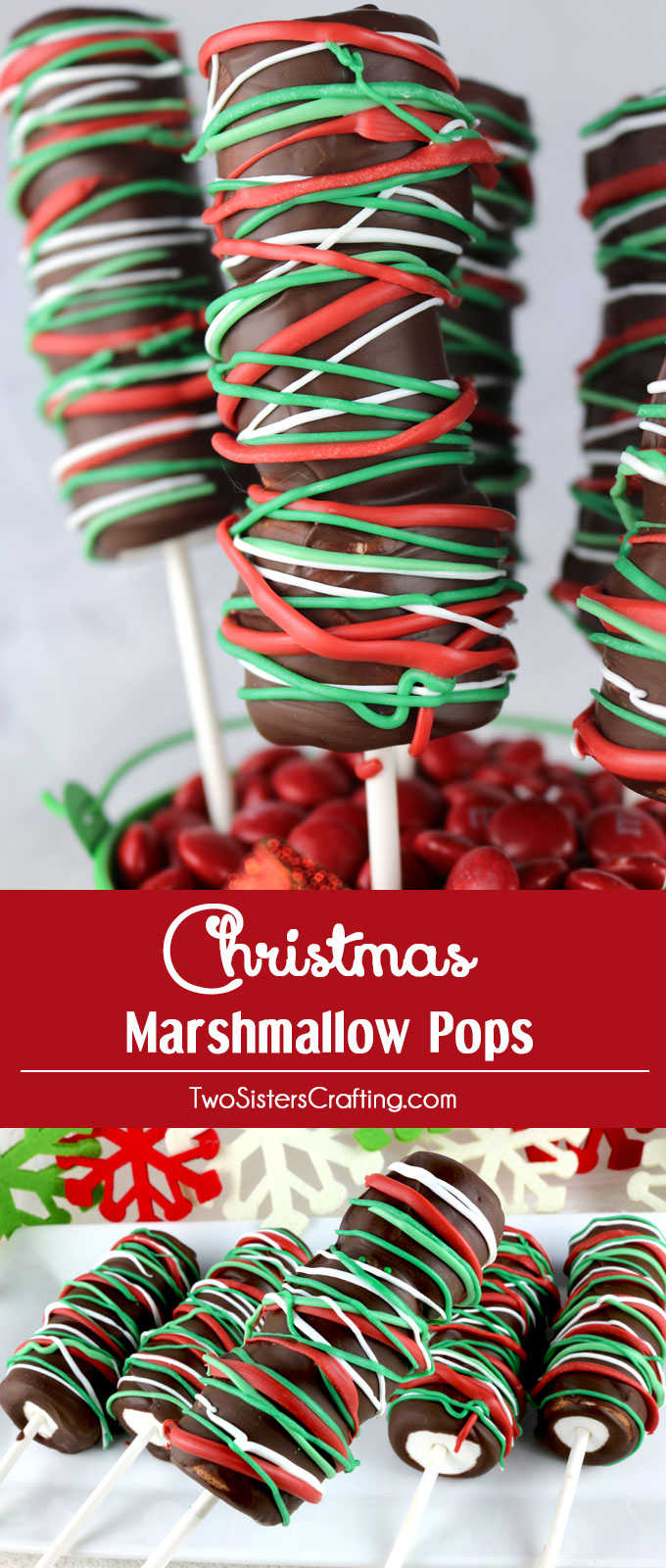 Christmas Marshmallow Pops - a festive and yummy Christmas dessert for your family. So easy to make and you won't believe how delicious these Chocolate covered Marshmallow Wands are. They would be a great Christmas Treat for this year's Holiday Party. Pin this delicious Christmas Candy for later and follow us for more great Christmas Food Ideas.