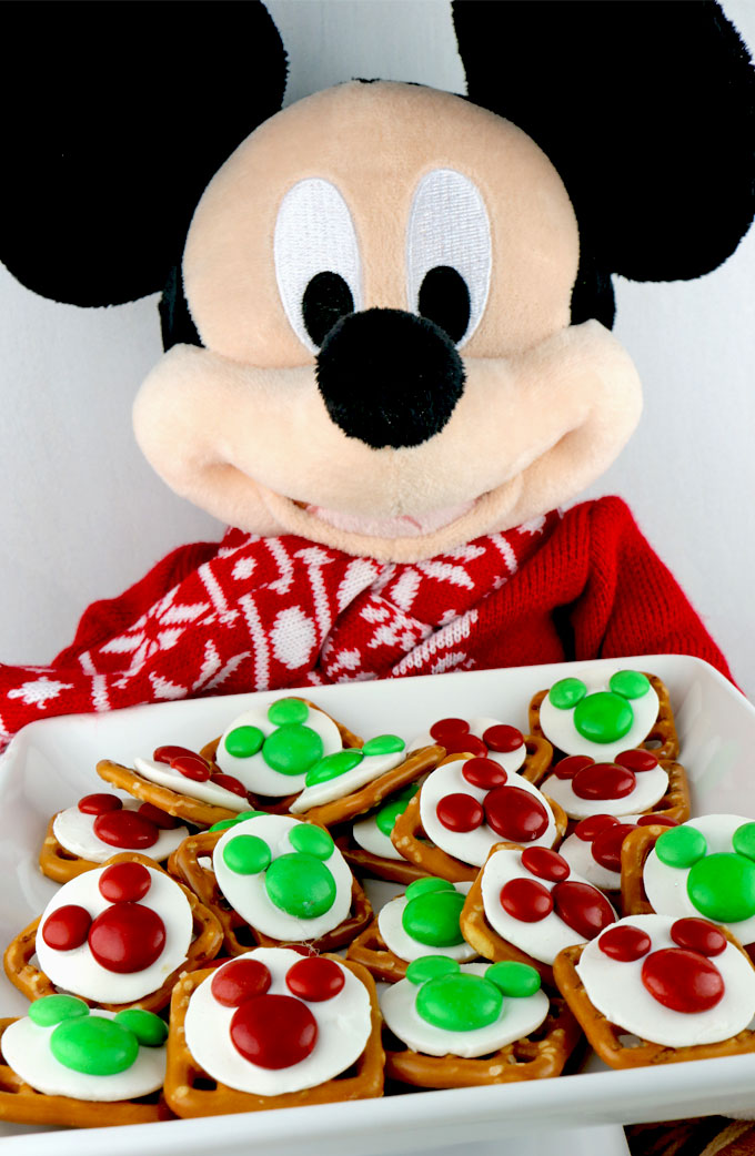Christmas Mickey Mouse Pretzel Bites Two Sisters