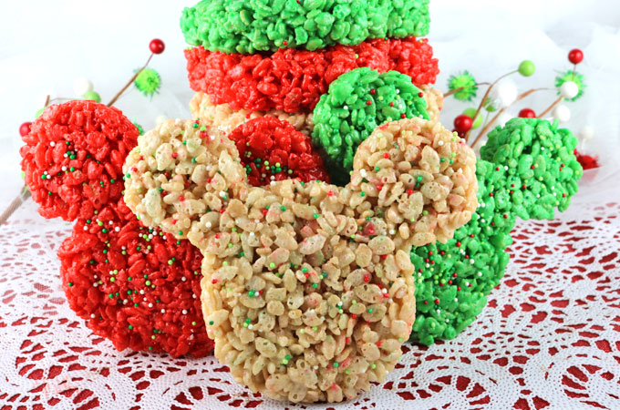 christmas mickey mouse rice krispie treats these colorful and festive christmas treats will be a