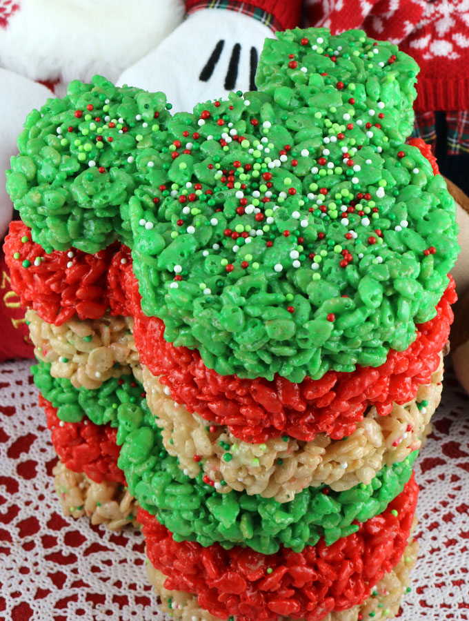 Rice Crispy Treat Christmas.Christmas Mickey Mouse Rice Krispie Treats