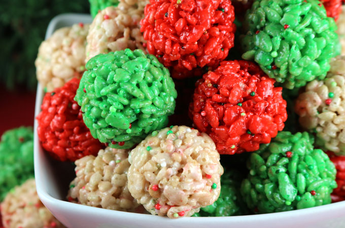 christmas rice krispie treat bites yummy bite sized balls of crunchy marshmallow