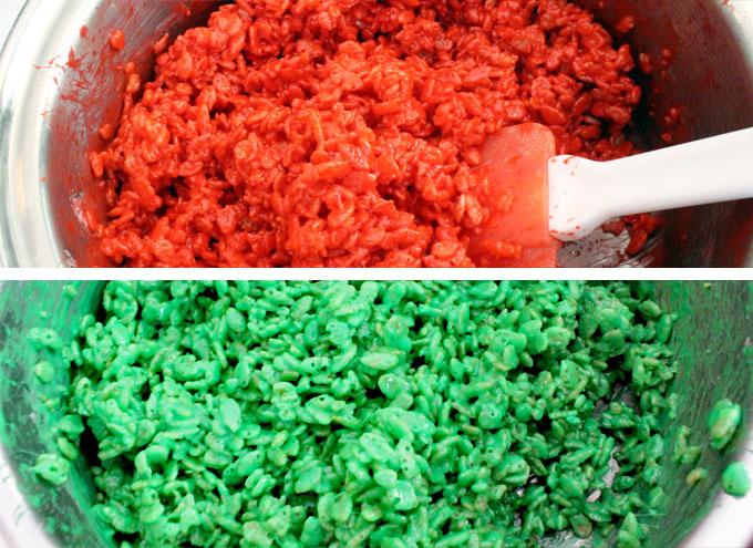 Christmas Rice Krispie Treat Bites mixture