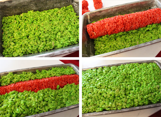 Assemble the Grinch Rice Krispie Cake