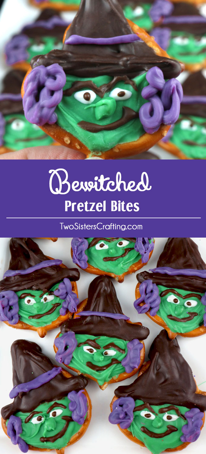 Bewitched Pretzel Bites - a spooky and fun to make Halloween Treat that is a perfect Halloween Party Food. The kids will love to help to make this colorful Halloween Dessert. Pin this adorable Halloween Candy for later and follow us for more fun Halloween Food Ideas.