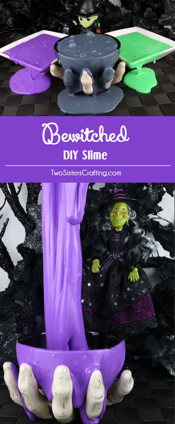 Bewitched DIY Slime - fun and colorful homemade GAK that would be great as a Halloween Party Favor or a Halloween themed after-school activity for the kids. We have step by step directions on how to make this easy to make DIY Halloween Gak. The kids will love playing with this ooey, gooey Halloween sensory activity. Follow us for more fun Halloween Craft Ideas.