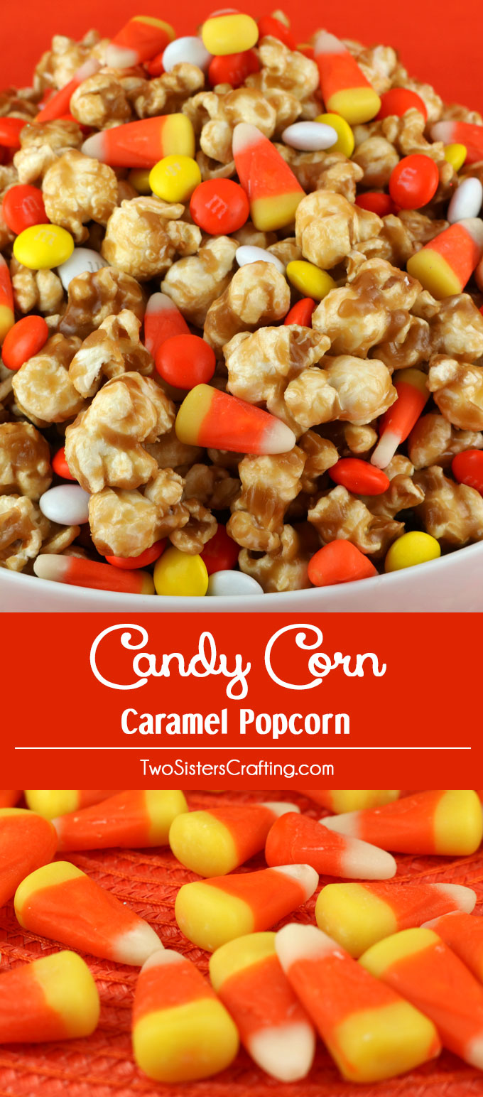 Candy Corn Caramel Popcorn - a fun Halloween treat. Sweet and salty popcorn covered in delicious caramel with Candy Corn mixed in for good measure. So delicious and so easy to make. It would be a great Halloween Party Food or a Fall movie night dessert! Pin this yummy Halloween Dessert for later and follow us for more great Halloween Food ideas.