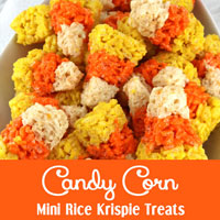 Candy Corn Mini Rice Krispie Treats