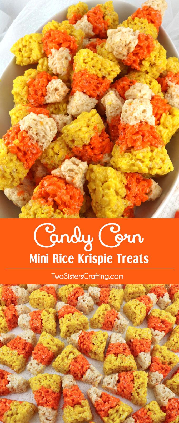 Candy Corn Mini Rice Krispie Treats - Two Sisters