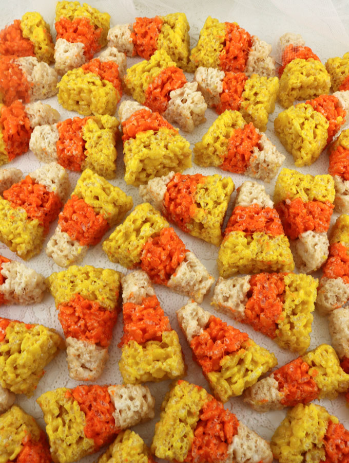 our colorful and festive candy corn mini rice krispie treats are adorable delicious the