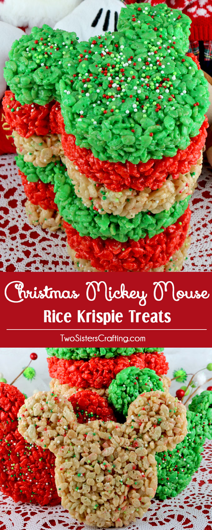 Christmas Mickey Mouse Rice Krispie Treats - Two Sisters