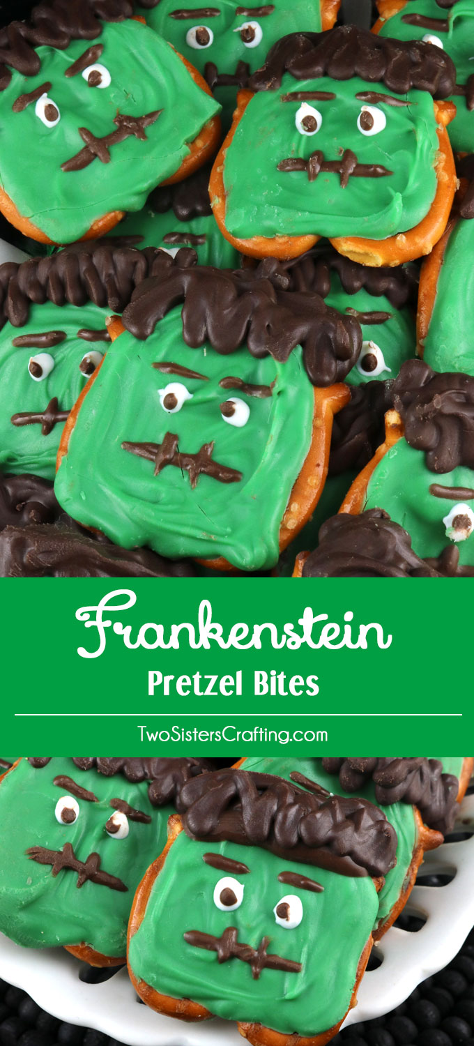 Frankenstein Pretzel Bites - a fun Halloween Treat made out of Pretzels and Candy Melts. Spooky and delicious, what could be better? You'll kids will love to help you make this sweet and salty Halloween Dessert and you'll find all the directions you'll need right here. Pin this easy Halloween Candy for later and follow us for more great Halloween Food Ideas.