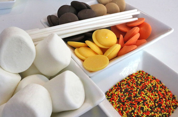 Ingredients for Harvest Marshmallow Pops
