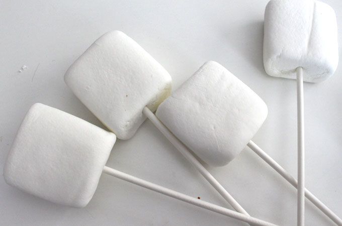 Place marshmallows on a lollipop stick