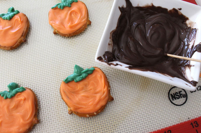 Melt Chocolate for the Pumpkin face