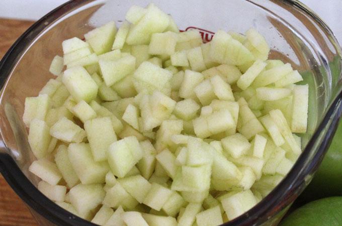 Dice apples for Apple Cinnamon Rolls