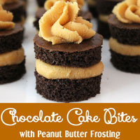 Chocolate Cake Bites and Peanut Butter Frosting